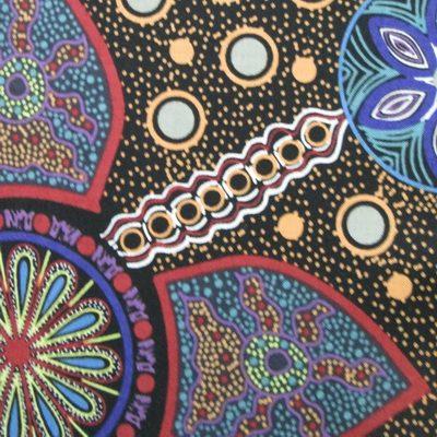 Aboriginal motif black pure cotton fabric 12 yard