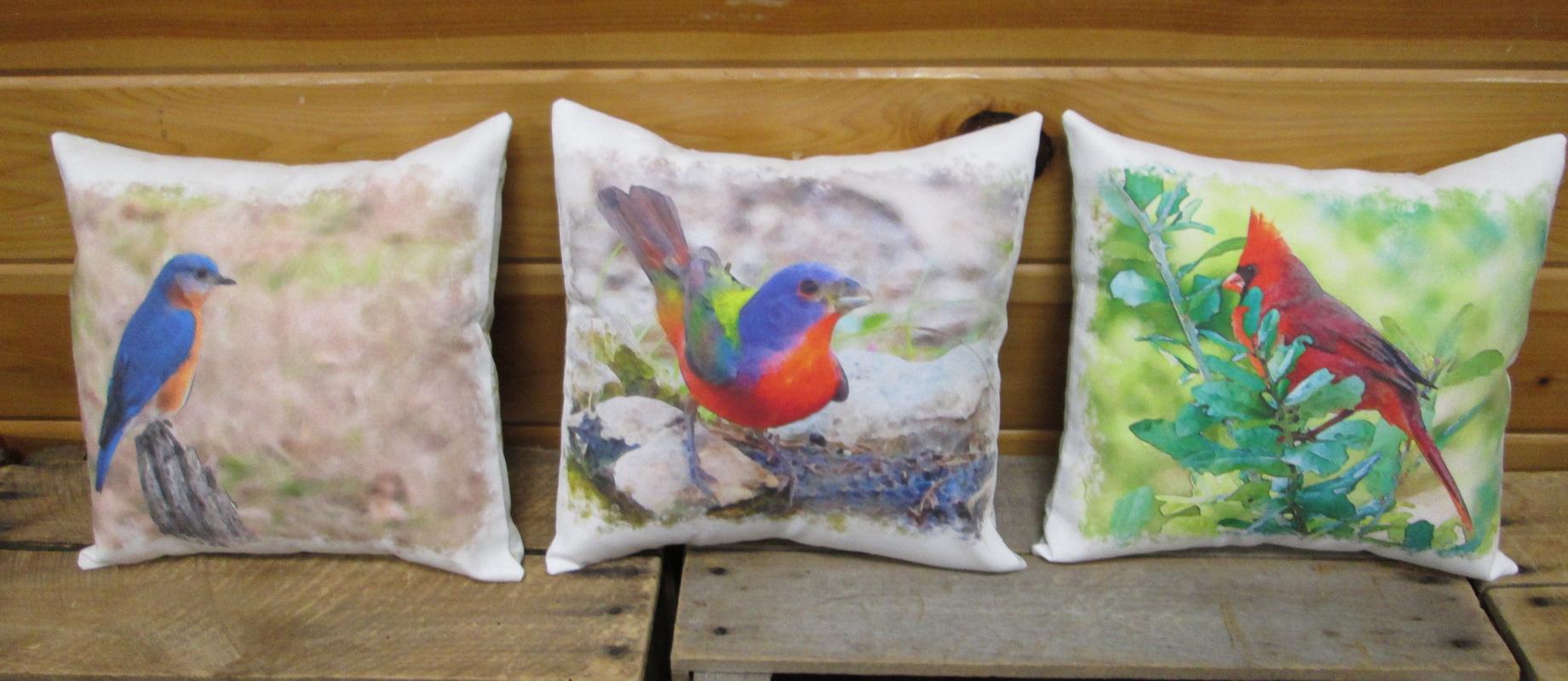 Digital print Bird Panels Cardina Blue Bird and Painted Bounting