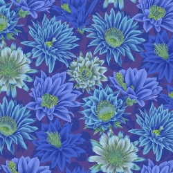 Philip Jacobs for Free Spirit Fabrics Cactus Flower Green PWPJ096 Blue