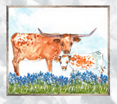 Longhorn closeup from Quilting Treasure Longhorn panel