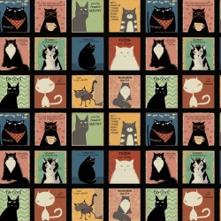Snarky Cats from Clothworks Y3058-3 Panel