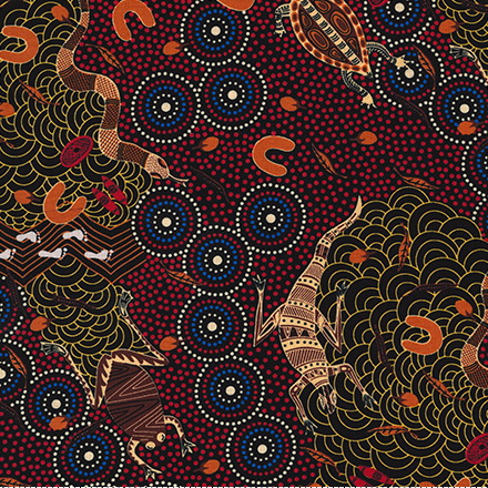 M & S Textiles Around the Waterhole Red AWR