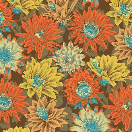 Free Spirit Fabrics Cactus Flower PWPJ096 Brown