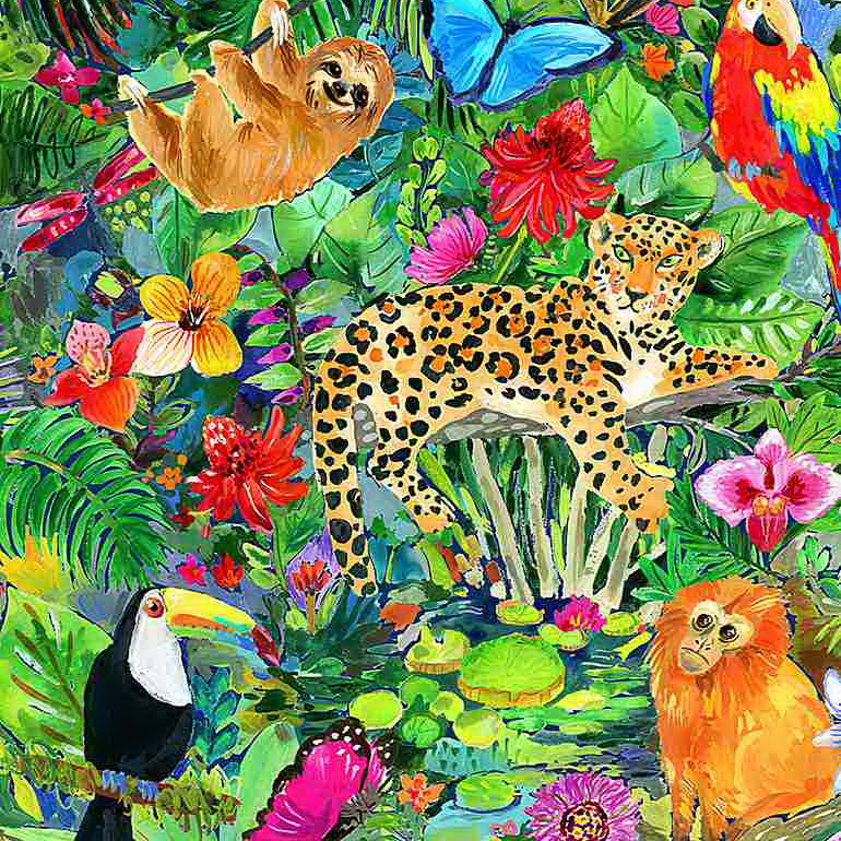 Dear Stella Fabrics DJL1773 Multi Jungle