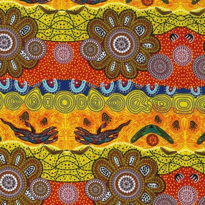 M & S Textiles Aboriginal Print Home Country Gold