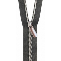Sallie Tomato Zippers by the Yard Black/Silver ZBY5C15