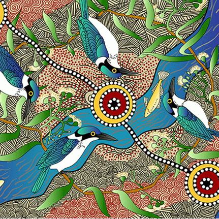 M & S Textiles Kingfisher Camp Ecru