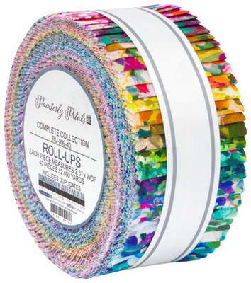 "Robert Kaufman Painterly Petals Pre-cut 2 1/2"" strip rolls"