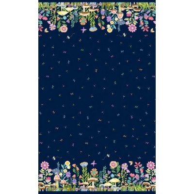 Michael Miller Be Kind to Everything that Grows Double Border DDC9774 Navy