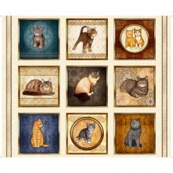 Quilting Treasers Dan Morris Cat Fabric 28486 E Panel