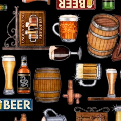 Quilting Treasers On Tap Beer Fabric 28419 J